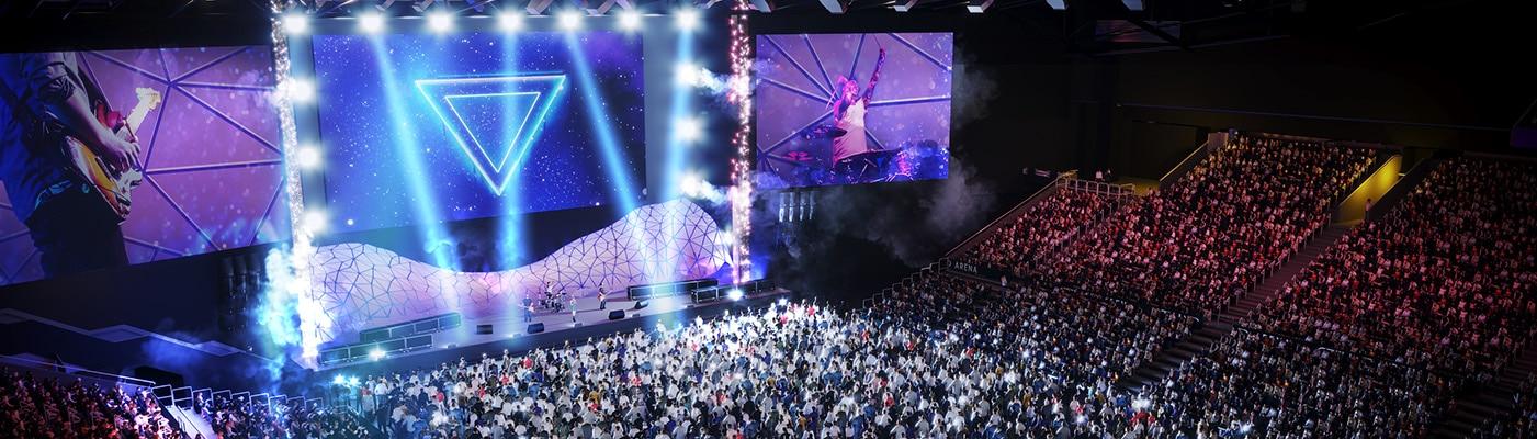 View of concert at Etihad Arena, largest indoor entertainment venue in the UAE.