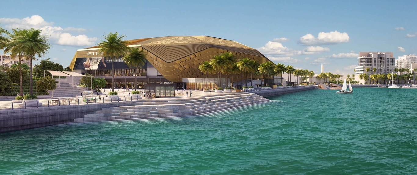 Etihad Arena on the waterfront at Yas Bay, UAE's largest concert venue.
