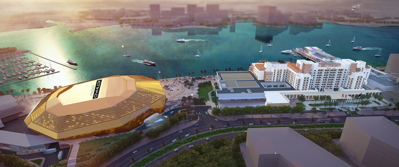View across Yas Bay featuring Etihad Arena, UAE's landmark entertainment venue.