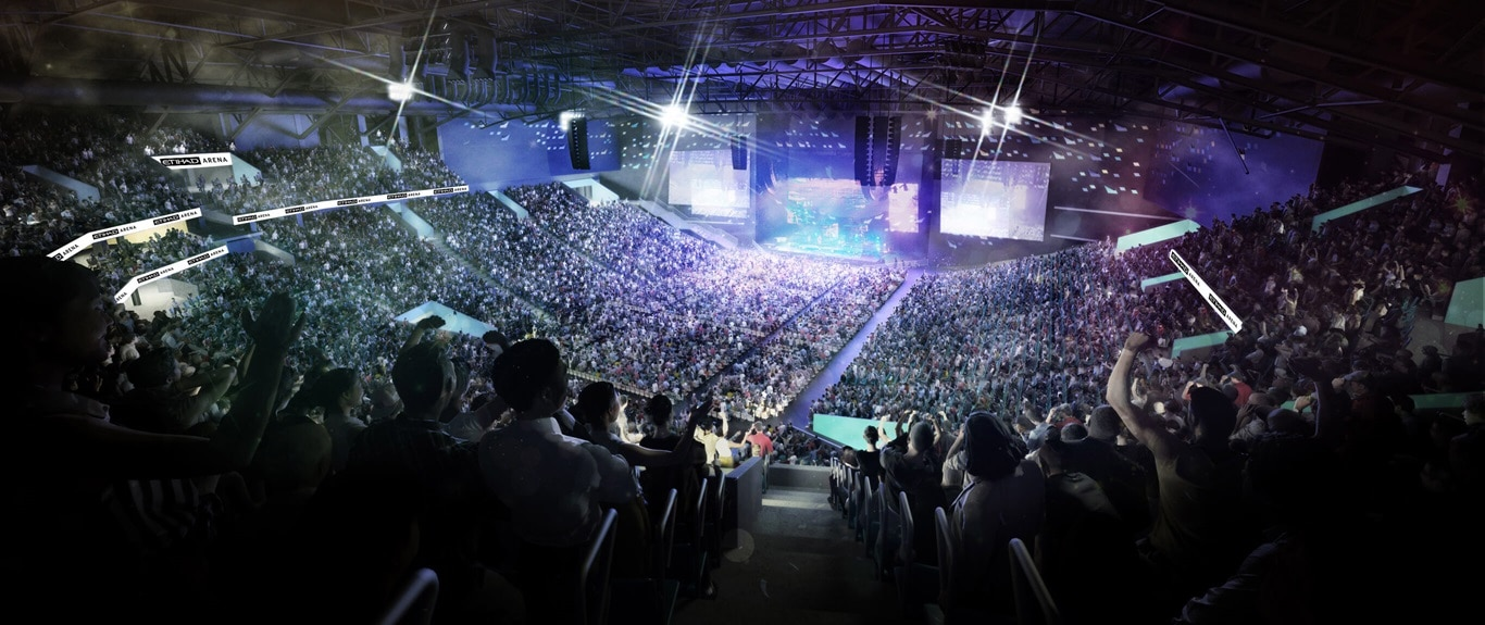 View inside Etihad Arena, Yas Island, during a concert.