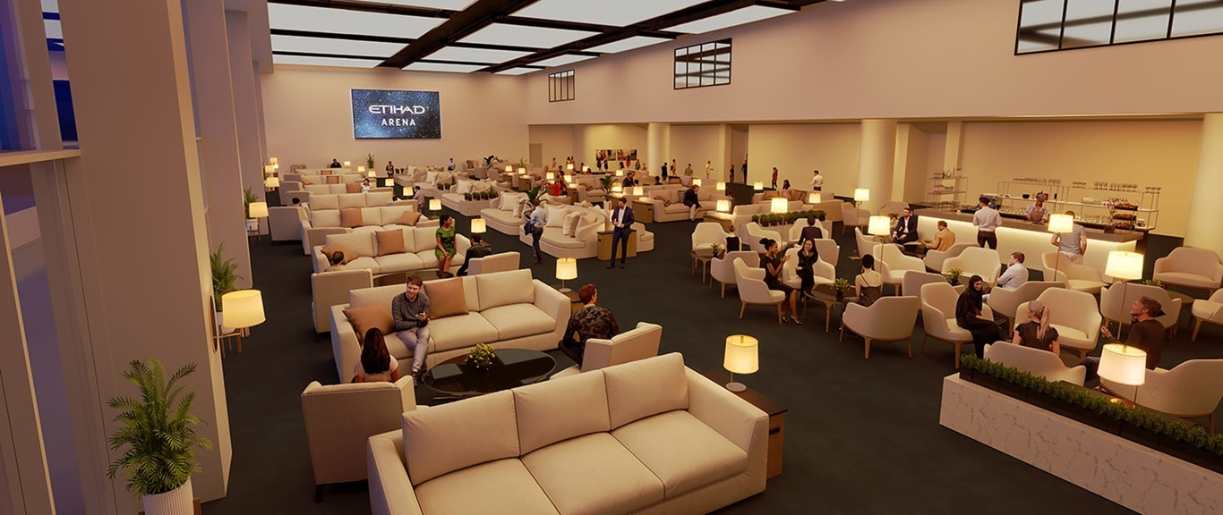 The elegant Chairman's Lounge at Yas Arena