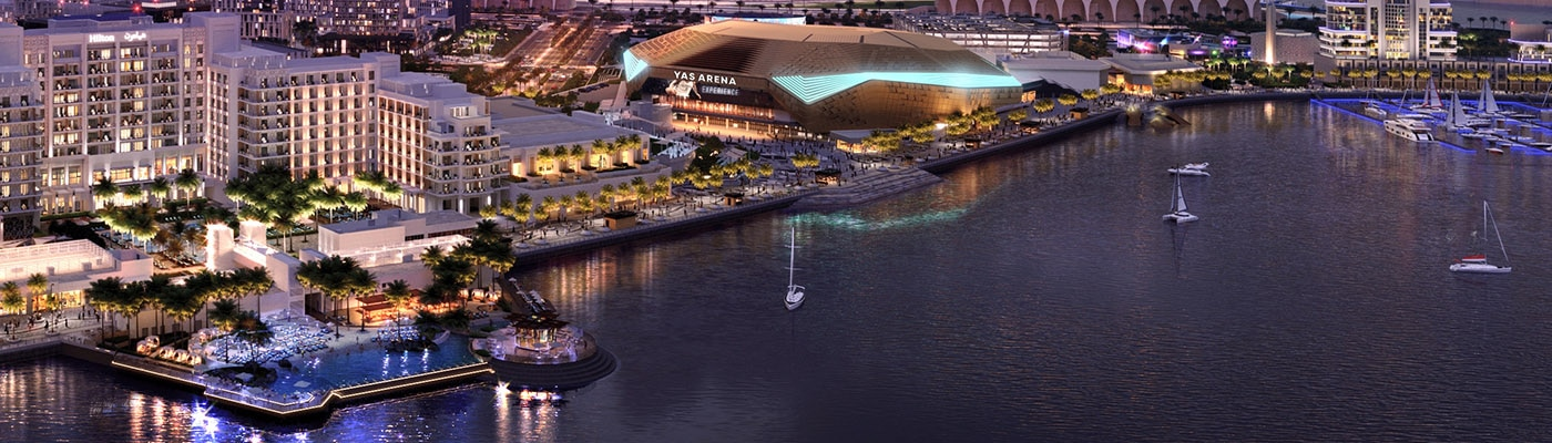 Image of Yas Bay and the Arena at night.