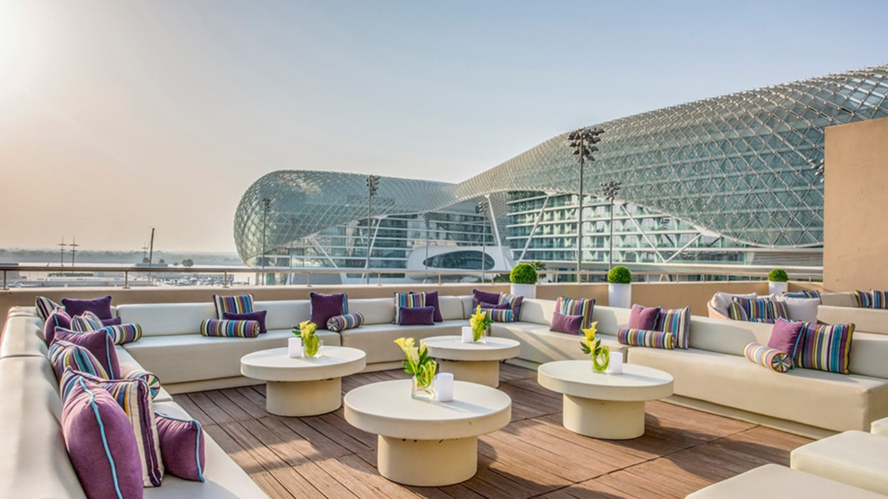 Great views of W Abu Dhabi from Luna Lounge rooftop bar