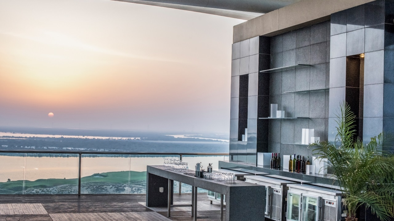 Outdoor drinks in Abu Dhabi with a sunset view