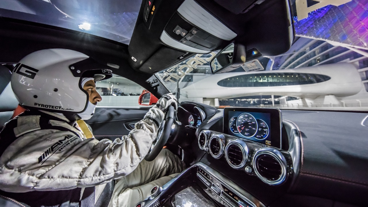 Driver profile in Mercedes AMG GTC at Yas Mari