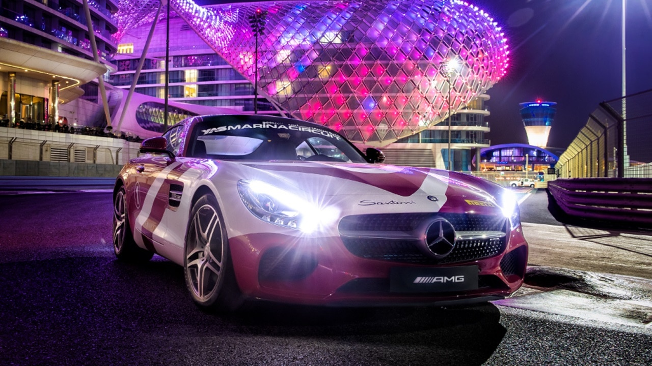 Mercedes AMG GTC with Yas Hotel in background