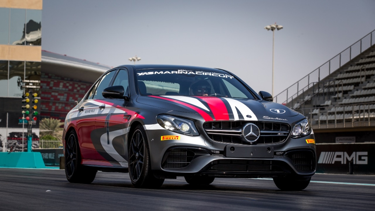Mercedes AMG E63 on drag strip at Yas Ma