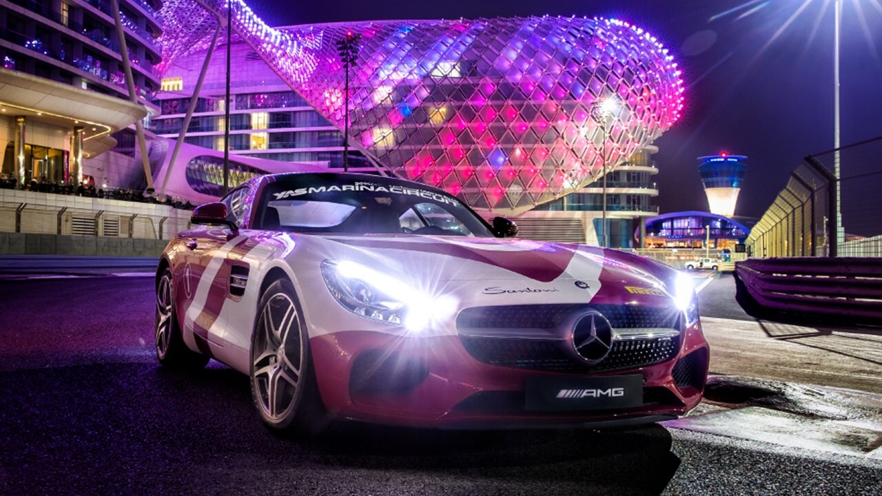 Mercedes AMG GTC at Formula 1 track in Ab