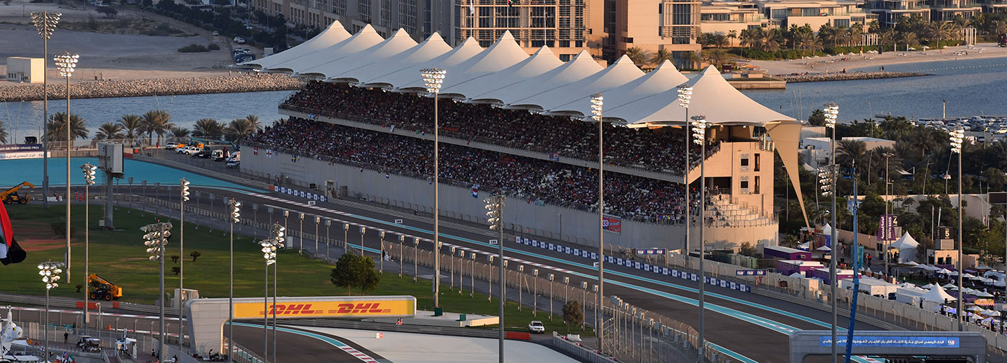 View of F1 Abu Dhabi Grand Prix from South Grandstand at Yas Marina Circuit
