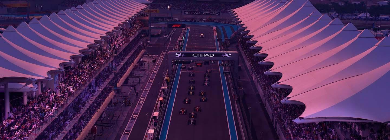 ممنظر لسباق الجائزة الكبرى لأبو ظبي للفورمولا 1 من المدرج الغربي
