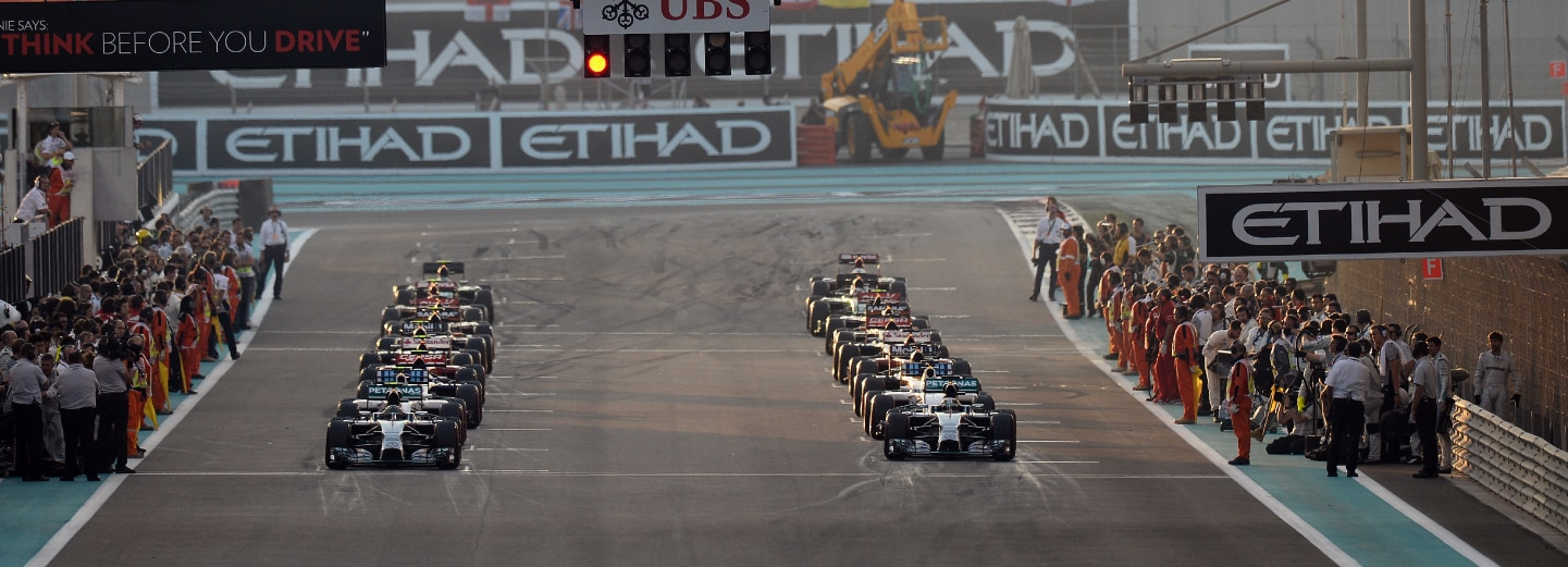 Two lines of cars waiting to start a race during the F1