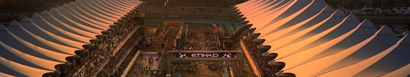 Sunrise view of track at Yas Marina Circuit